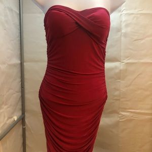 Hot Pink Strapless Slinky Form Fitted Dress